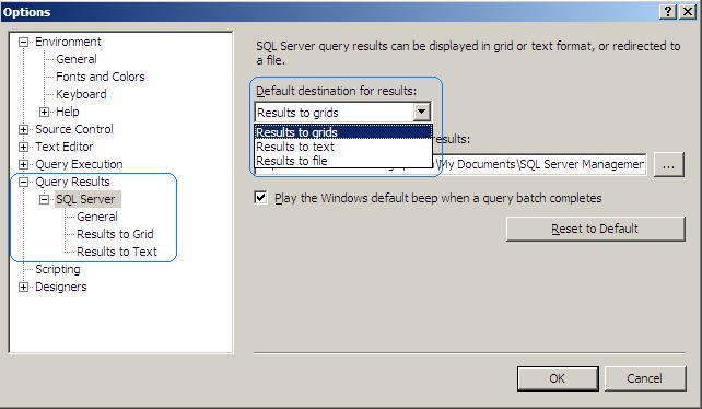 SQL: Different Options for Query Results in SQL Server Management Studio