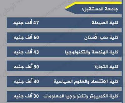 أسعار ومصروفات جامعة المستقبل فى مصر 2016-2017 بعد الزيادة :