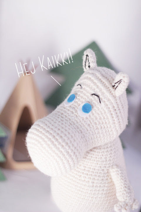 Detail of the head of the Moomin free amigurumi pattern.