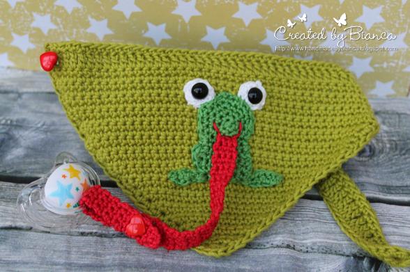 Handmade By Bianca Schnullerkette Sabberlätzchen Frosch Gehäkelt