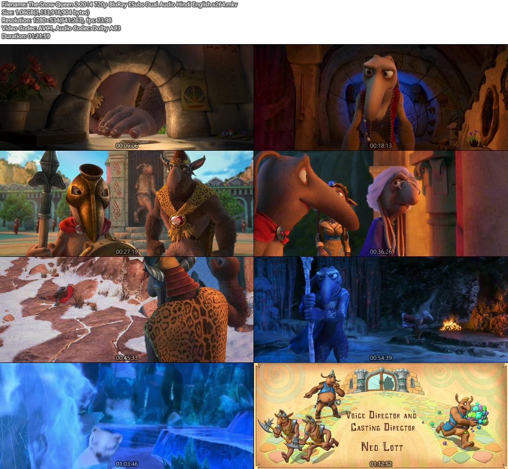 The Snow Queen 2 2014 720p BluRay ESubs Dual Audio Hindi English x264 | 480p 300MB | 100MB HEVC Screenshot