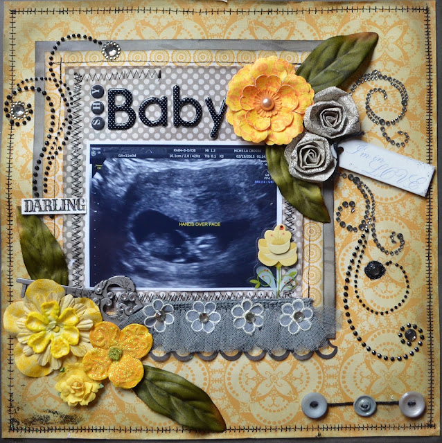 Gray and Yellow scrapbooking layout with stitching, bling, flowers, and button string