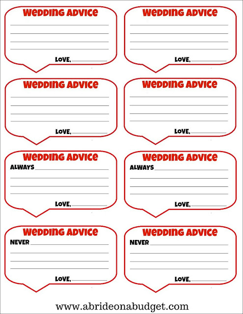 Looking for an engagement party game? Check out these wedding advice cards from www.abrideonabudget.com. You can get them for FREE there too!