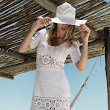 DRESS WHITE CROCHET - SUMMER - WITH HAT -
