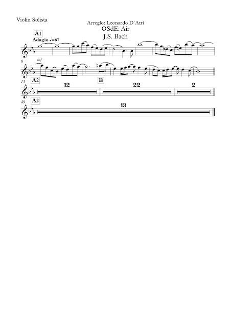 Aria Nº 3 de J. S. Bach (Suite) Partitura de Violín Solista (Partituras de Violines abajo) Sheet music for soulist violin