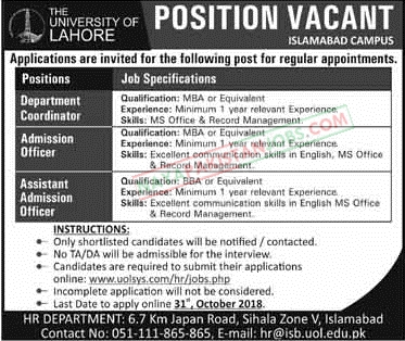 Latest Vacancies Announced in University Of Lahore Islamabad Campus 26 October 2018 - Naya Pakistan