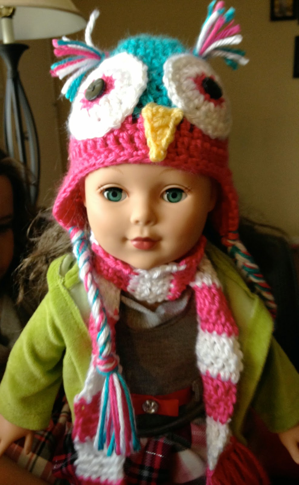 5 Little Monsters: 18 inch Doll Accessories: Owl Hat and Striped Scarf