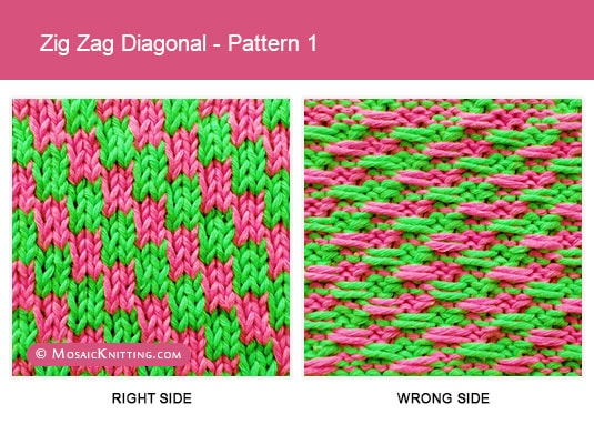Mosaic Knitting - 2 Color Knit Stitch Pattern. Right side vs wrong side of the Zig Zag Diagonal stitch - Pattern 1