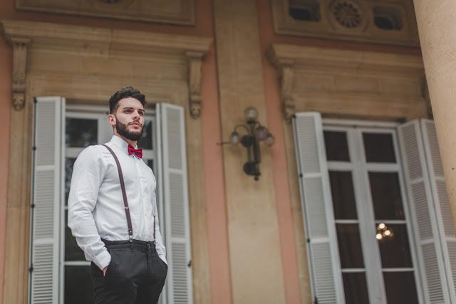 novio con pajarita - editorial boda de invierno