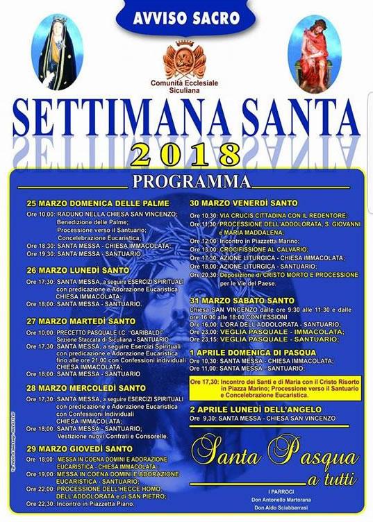 Settimana Santa a Siculiana, Il Programma