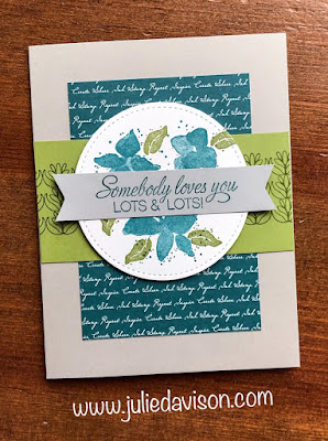 Stampin' Up! 2019-2020 Annual Catalog SNEAK PEEK: Parcels & Petals Card with card sketch and layout measurements ~ www.juliedavison.com