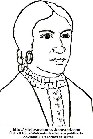 Dibujo de Micaela Bastidas para colorear pintar imprimir recortar y pegar. Dibujo de Micaela Bastidas de Jesus Gómez