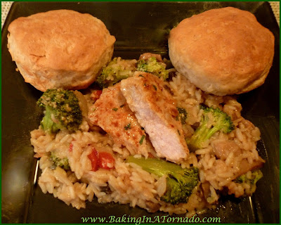 Pork Chop Dinner Casserole: A one dish flavorful and filling dinner. Easy to prepare on a busy night, just mix and bake. | recipe developed by www.BakingInATornado.com |#recipe #dinner #casserole