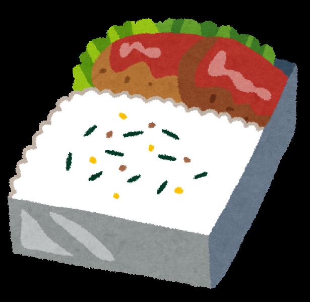 銀色の男らしいお弁当箱に入った、ハンバーグ弁当のイラストです。