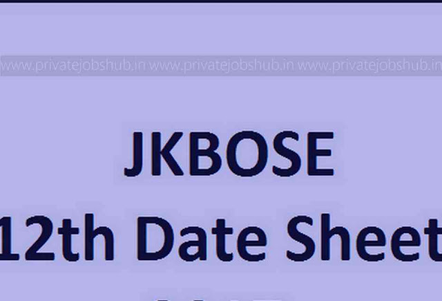 JKBOSE 12th Date Sheet