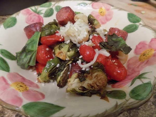 Who needs pizza or pasta on a Friday night? (Roasted tomato, Brussels sprouts, garlic and sausage bowl)
