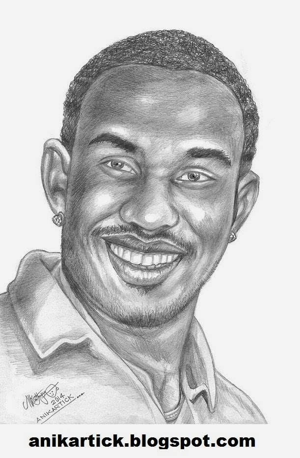 Dwayne bravo bravo west indies captain one of the best bowlers in the world bowler of chennai super kings portrait pencil sketch by artist