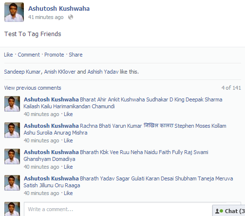 all friends tagged in status