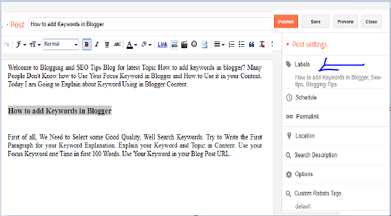 How to add Keywords in Blogger