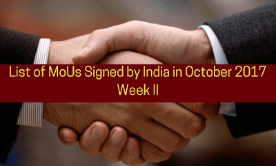 List of MoUs Signed by India in October 2017: Week II