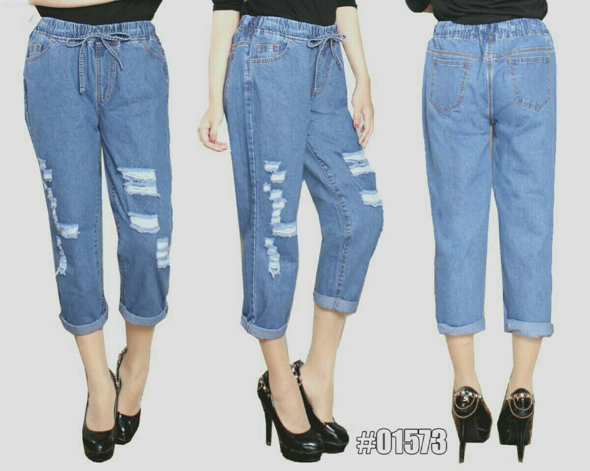 Jual Celana Panjang Celana Jeans Boyfriend Ripped - 12929