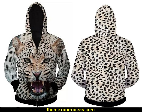 Long Sleeve Zip-Front Leopard Pattern 3D Painted Hoodie