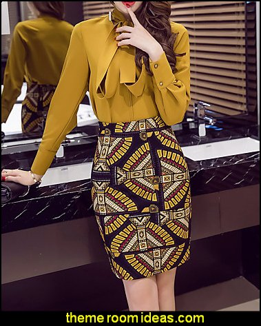 Elegent Bodycon Print Split Skirts Work Sexy Boho High Rise Above Knee Zipper Stretchy Spring Summer
