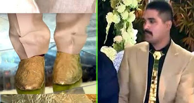 Pakistani Man Wearing Gold Shoe Tie Wedding