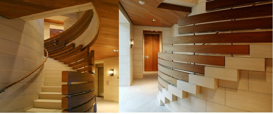 Contemporary Staircase Design With Wooden Stair Handrails