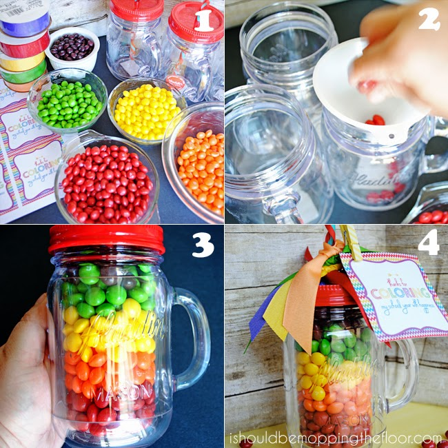 Start by grabbing your supplies and separating out the colors of your Skittles. I also used rolls of gross grain ribbon in coordinating colors of the ...