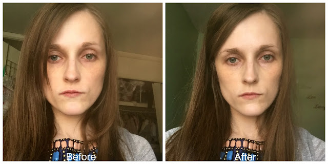 before and after new look illuminating makeup primer