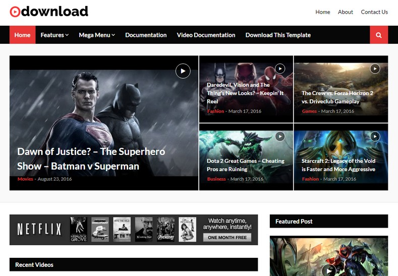 video download blogger theme cover