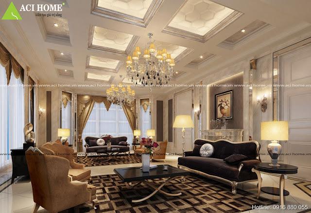 Kiến trúc nội thất cổ điển phòng khách