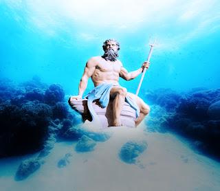 Poseidon underwater, Poseidon underwater holding his trident