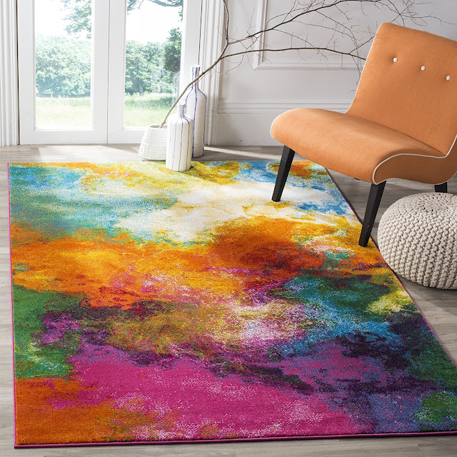 Color Collection WTC619D Orange and Green Area Rug