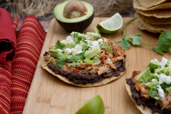 Crockpot Chicken Tinga Tostadas - All Roads Lead to the Kitchen