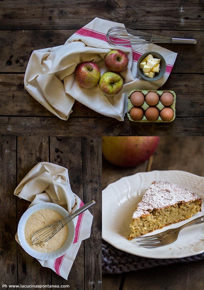 Foto dei passaggi della torta di mele grattugiate