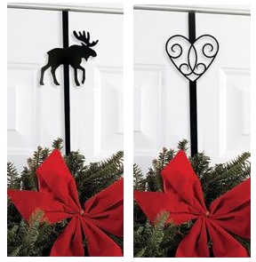 wrought iron wreath holder - one with a moose, another with a heart