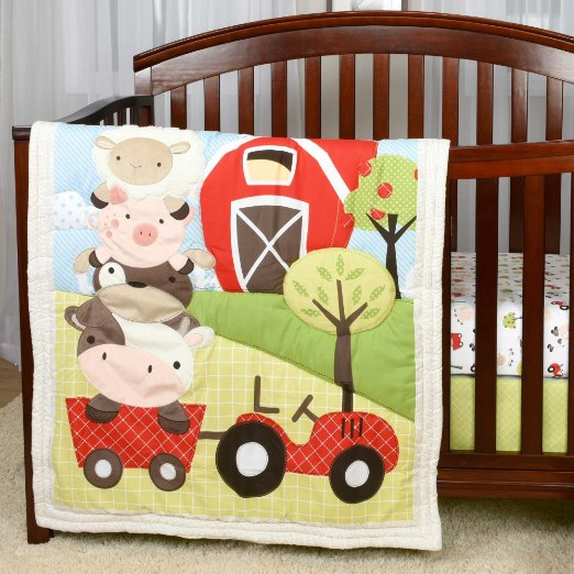 Tractor Crib Baby Bedding For Nursery Comforter Sheet Skirt