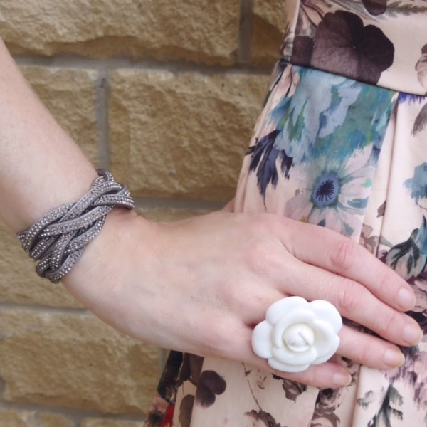 Taupe diamante plaited wrap bracelet with large cream flower ring