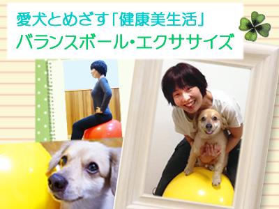 人と犬のバランスボール エクササイズ