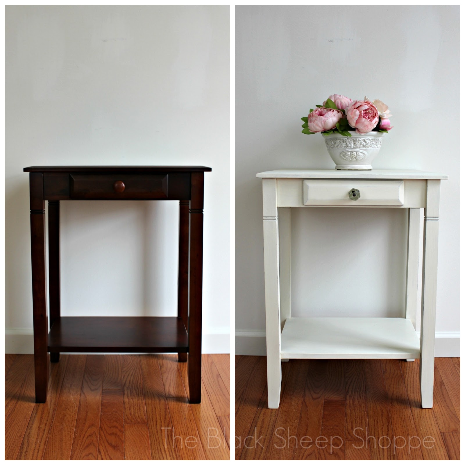 Nightstand before and after.
