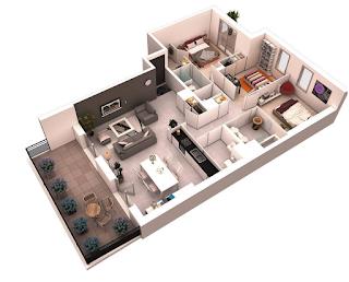 denah rumah minimalis 1 lantai 3 kamar tidur dan garasi 3D (tiga dimensi)
