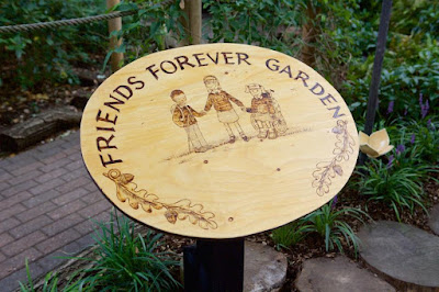 The sign at the Linden Lodge Friends forever garden