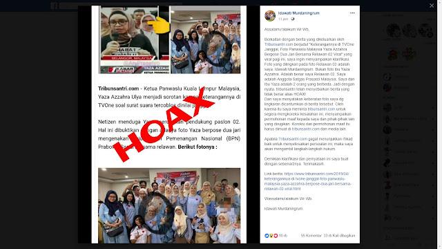 Hoax Foto Ketua Panswaslu Malaysia Pendukung 02, Ini Klarifikasi Pemilik Foto Asli