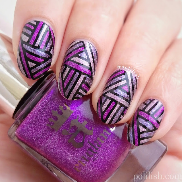 Reverse stamping purple stripes for Beautometry's Next Top Swatcher | polilish