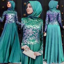 Model Baju Pesta Muslim Bahan Brokat Kombinasi Sifon Terbaru