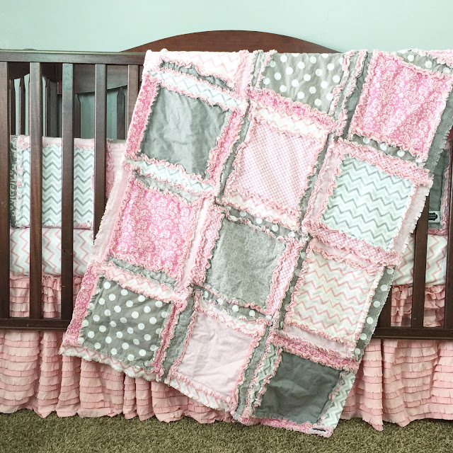 Custom Baby Girl Nursery Crib Bedding by A Vision to Remember