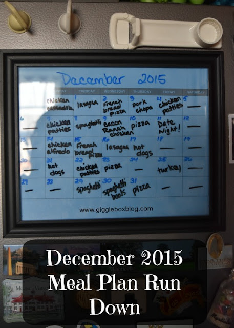 dinner meal plans for the month of December 2015,
