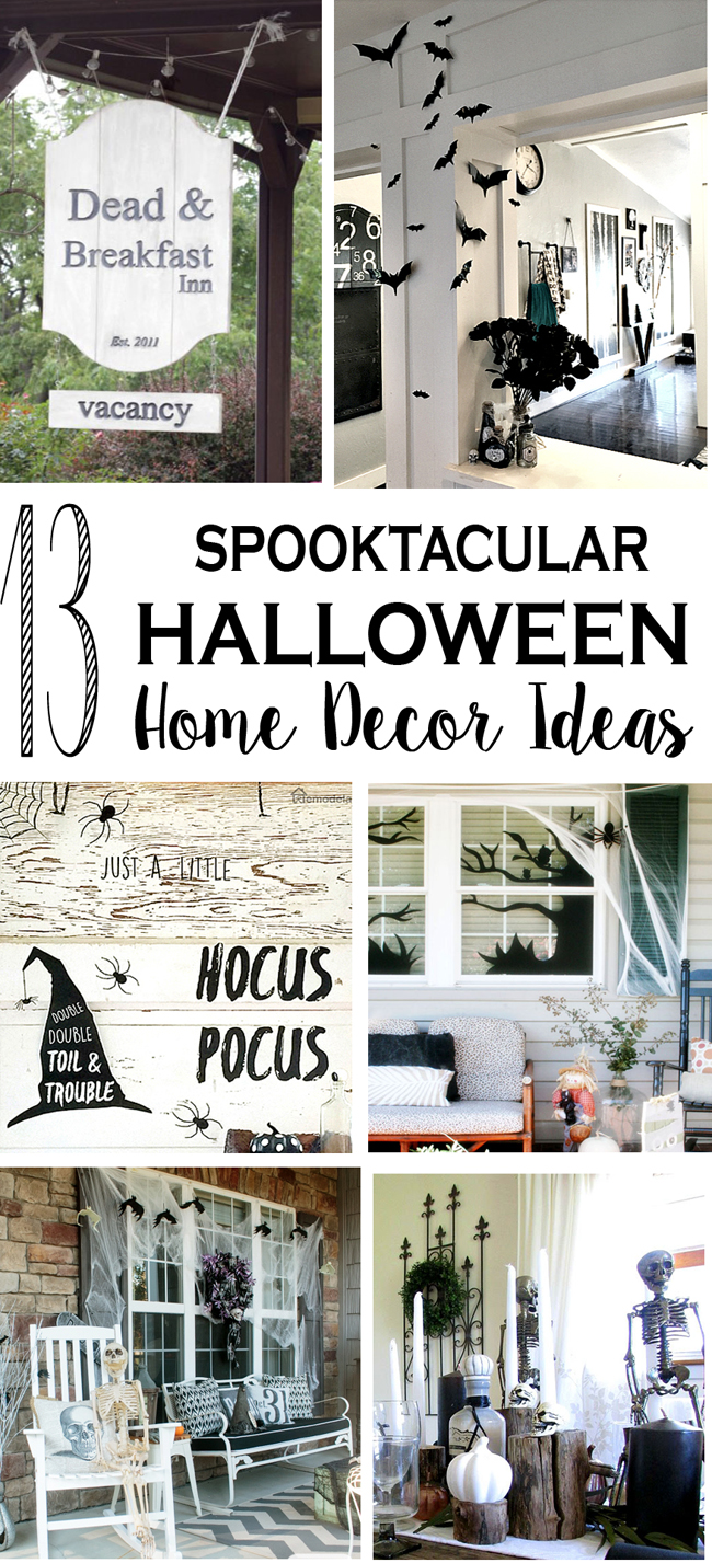 Spooky Halloween decor with skeletons, bats, signs and more